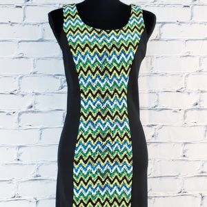 🆕 Kensie Sleeveless Black Dress Chevron Print Sm